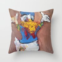 donald duck Throw Pillows featuring Donald Duck diddy by Larry Caveney