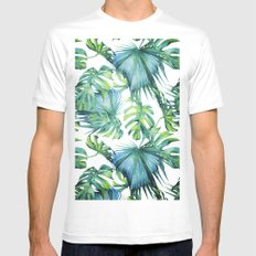 Blue Jungle Leaves, Monstera, Palm #society6 White SMALL Mens Fitted Tee
