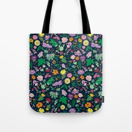 Flowers and Ferns Colorful Illustrated Print Tote Bag