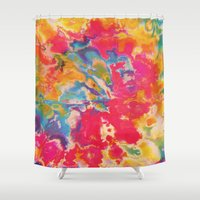 tie dye Shower Curtains featuring Tie Dye by The Dope Scope