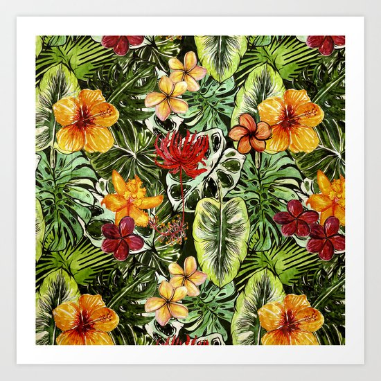 Tropical Vintage Exotic Jungle Flower Flowers - Floral watercolor pattern1on #Society6 Art Print