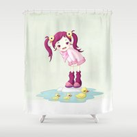 ducks Shower Curtains featuring Puddle Ducks by Freeminds