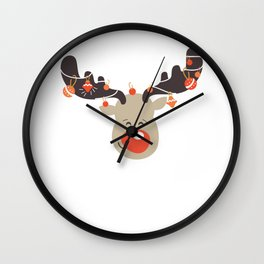 Red Nose Reindeer Christmas Lights For Holiday Wall Clock