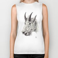 goat Biker Tanks featuring Goat by Ursula Rodgers