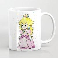 princess peach Mugs featuring Princess Peach by Olechka