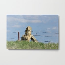 Kansas Corner Limestone Post with Blue Sky Metal Print