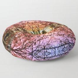 Abstract Sunset Mandala 1488 Floor Pillow