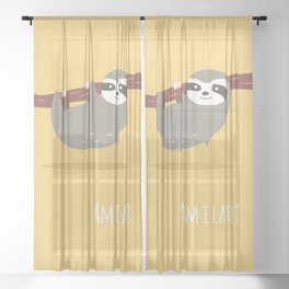 Sloth card - Am I late? Sheer Curtain