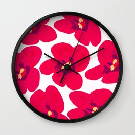 Red Retro Flowers #decor #society6 #buyart Wall Clock