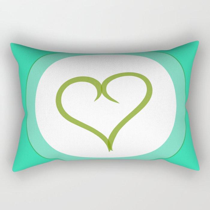 Green Heart with Love Rectangular Pillow