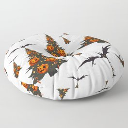Halloween Christmas Trees Pattern - White Floor Pillow