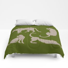 Leopard Block Party - Olive Comforters