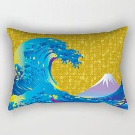Hokusai Big Wave & Mt.Fuji on Gold-leaf Screen Rectangular Pillow