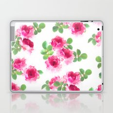Raspberry Pink Painted Roses on White Laptop & iPad Skin