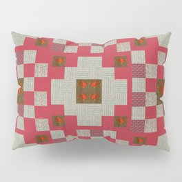 project for a quilt red and beige with floral patterns Pillow Sham