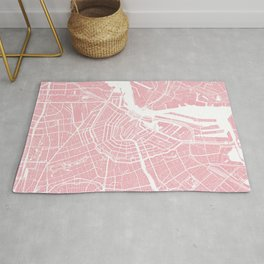 Pink City Map of Amsterdam, Netherlands Rug