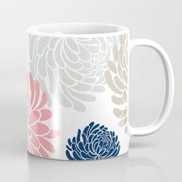 Floral Pattern Chrysanthemum, Blush Pink, Navy Blue Coffee Mug