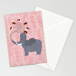 Happy Elephant and cute birds Stationery Cards