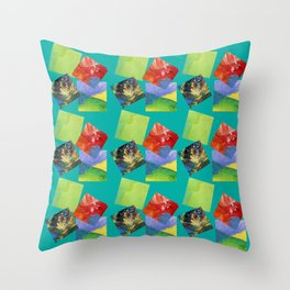 Painted Squares Jiggle - Green Throw Pillow