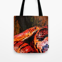 Grunge Coiled Corn Snake Tote Bag