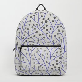 Silver & Periwinkle Berry Branches Backpack