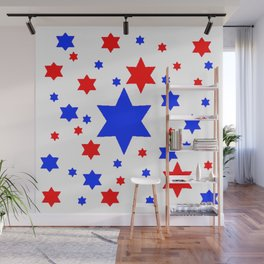 4TH RED & WHITE & BLUE STARS  DESIGN Wall Mural