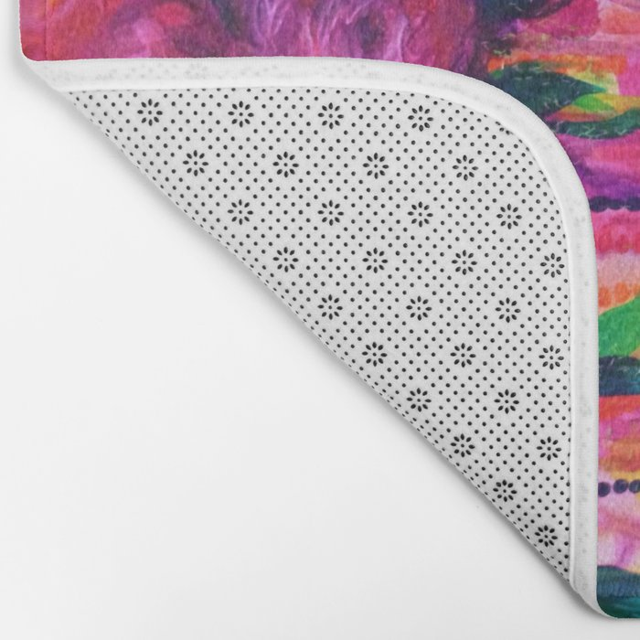 ROSES ARE RAD 2- Bold Pink Red Roses Floral Bouquet Vines, Flower Abstract Acrylic Painting Fine Art Bath Mat