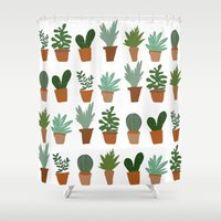succulent Shower Curtains featuring succulent by Carrie Radford