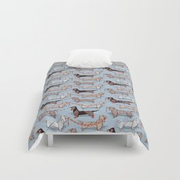 Origami Dachshunds sausage dogs // pale blue background Comforters