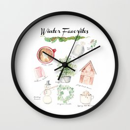 Winter Favorites in Watercolor Wall Clock