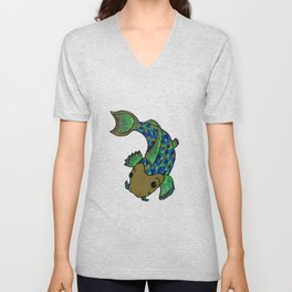 Speckled Illustrated Koi Fish in Green, Blue and Gold Unisex V-Neck