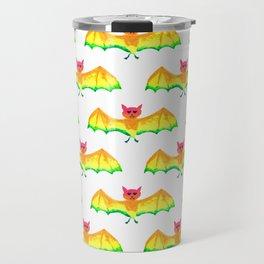 Bat with Heart Eyes Halloween Rainbow Painting Travel Mug