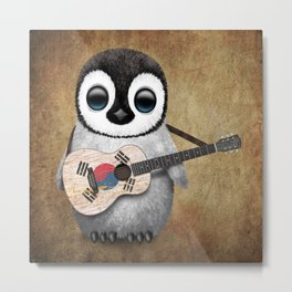 Baby Penguin Playing South Korean Flag Guitar Metal Print