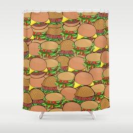 burger meat sandwich bread Shower Curtain