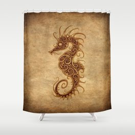 Aged Vintage Intricate Tribal Seahorse Design Shower Curtain