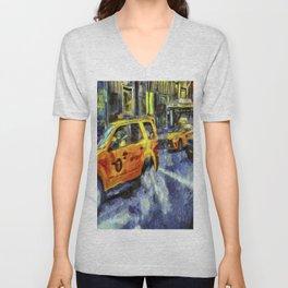 New York Taxis Art Unisex V-Neck