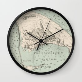 Vintage Map of Provincetown MA (1892) Wall Clock