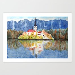 Church of the Assumption in Lake Bled Slovenia Art Print