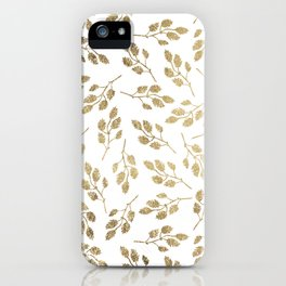Elegant white faux gold modern leaves floral iPhone Case
