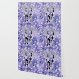 ELEPHANT AND LILAC PURPLE VIOLET BLOSSOMS Wallpaper