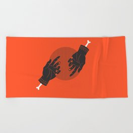 red rune hands Beach Towel