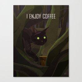 A Cat Enjoys Coffee Canvas Print