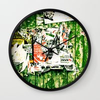 posters Wall Clocks featuring posters 2 by Renee Ansell