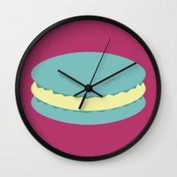 macaron Wall Clocks featuring Macaron by Diapeirein