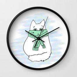 Cute white cat in green scarf. Wall Clock