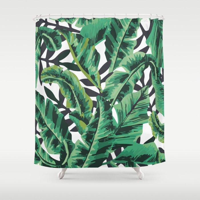 Tropical Glam Banana Leaf Print Shower Curtain by boltsandglitter ...