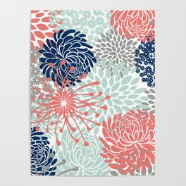 Floral Print - Coral Pink, Pale Aqua Blue, Gray, Navy Poster