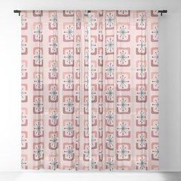 Mid Century Modern Starburst Shells Pink Sheer Curtain