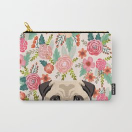 Pug floral dog portrait Pug dog peeking face gifts for dog lover pugs Carry-All Pouch