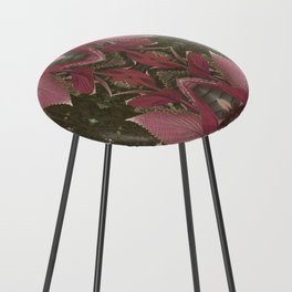 Red Shiso Warm Tones Pattern Counter Stool